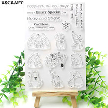 KSCRAFT Cute Bears Transparent Clear Silicone Stamps for DIY Scrapbooking/Card Making/Kids Christmas Fun Decoration Supplies
