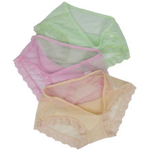 Buy 3PC Panties Women Sexy Mesh Lace Briefs Full Transparent Female Underwear Mid Rise Ultra Thin Lingerie Seamless Breathable Panty