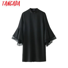 Tangada Vintage Lace Patchwork Bell Sleeve Dresses black Women one piece Female Retro Fashion Autumn Ladies Dress Vestidos 2XN08(China)