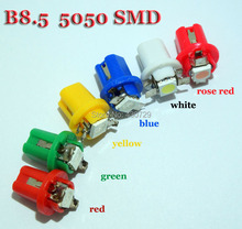 10pcs/lot   b8.5 5050 Led 1 SMD T5 LED Lamp Car Dashboard instrument Light Bulb 12v blue red green white yellow Rose red