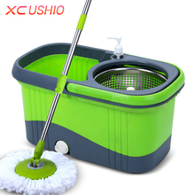 XC USHIO Household Stainless Steel Spinning Mop Bucket With Two Mop Heads Hand Press 360 Degrees Spin(China)