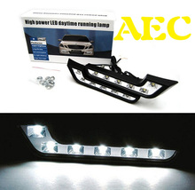 2set/lot Super Pure White Car DRL 6 LED Universal Auto Daytime Running Light For Mercedes-Benz E260 E300 Auxiliary type DC12V