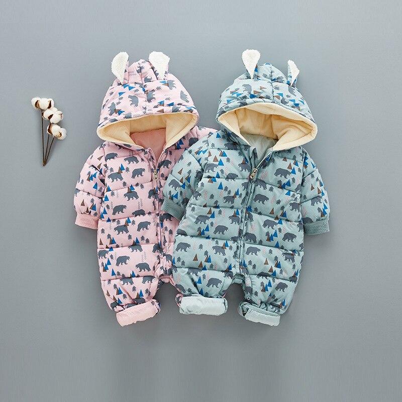 Super Warm Children Winter Jumpsuit Rompers Bear Baby Girl Winter Coat Cartoon Boys Snowsuit Hooded Rompers Baby Overalls 0.8kg<br>