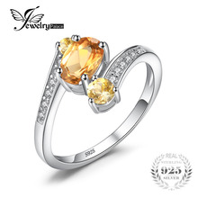 JewelryPalace Genuine 925 Sterling Silver 0.9ct Natural Citrine 3 Stone Anniversary Ring Oval Cut Fashion Fine Jewelry For Women