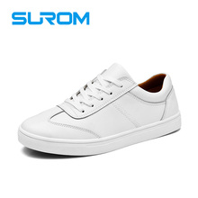 SUROM Mens Shoes White Color Leather Lace-UP Casual Brogue shoe Fashion Flats Popular small pearly quality flattie - Official Store store