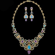 Luxury colorful woman gold plated jewelry set vintage bridal cubic zircon necklace earrings jewelry set