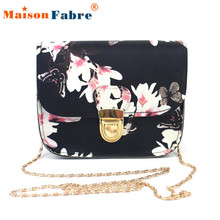 bolsa feminina Women Hot Butterfly Flower Printing Chains Pu Leather Messenger Bag Girl Elegant Shoulder Bag Fashion Purse Dec26