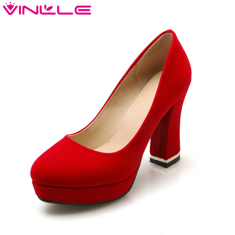 VINLLE 2017 Woman Pumps Sexy Flock Simple Shoe Thick High Heel Platform Summer Round Toe Ladies Solid Shoe Large Size 34-43<br>