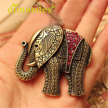 DIOMEDES Women Elephant necklace Crystal Vintage Retro Long Necklace Jewelery Pendant Accessories Sexy Chain suspension