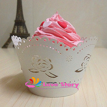 50pcs rose  Laser Cut Cup Cake Wrapper Wedding Paper Cake Art Paper Baby Party Shower And Wedding Party Cupcake Wrapper