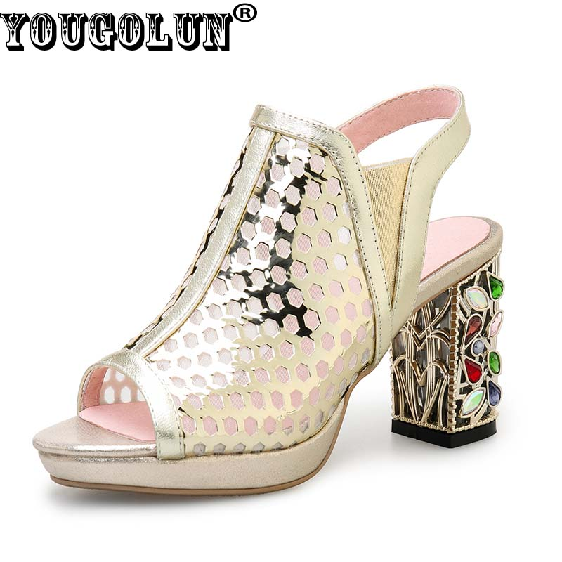 YOUGOLUN Women 2017 Summer Ankle Boots Genuine Leather Mesh Peep Toe Shoes Crystal Thick Heel 8 cm SlingBacks High Heels #Y-177<br>