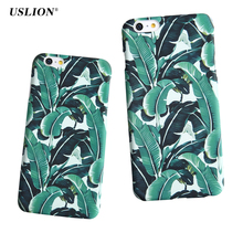 USLION Phone Case For iPhone 7 6 6s Plus 5 5s SE Banana Leaves Plants Case Ultra Thin Hard PC Green Leaf Back Cover Capa Coque(China)