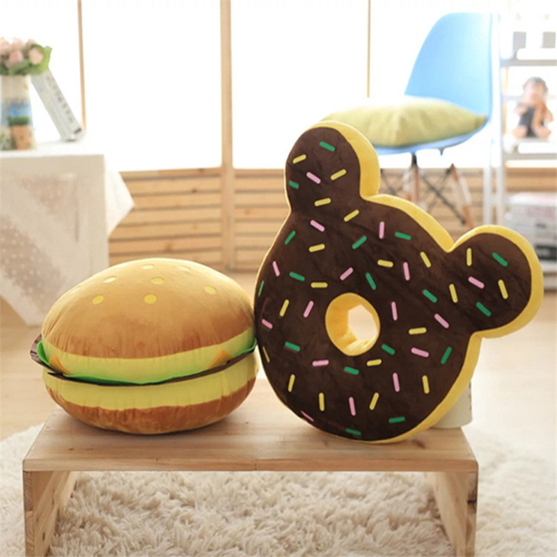 2017 New Food Plush Pillow Simulation Hamburger Donuts Cushion Home Sofa Decorative Soft Toy Kids Toy Funny Gift For Children<br><br>Aliexpress