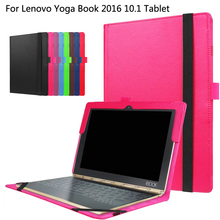Flip Cover For Lenovo Yoga Book 2016 10.1 Tablet Simple Design Litchi Grain PU Leather Skin Shell Case Can Put Keyboard(China)