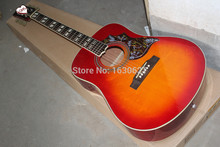 2015 New + Factory + Chibson hummingbird acoustic guitar cherryburst Hummingbird electric acoustic guitar with No stripe on back(China)