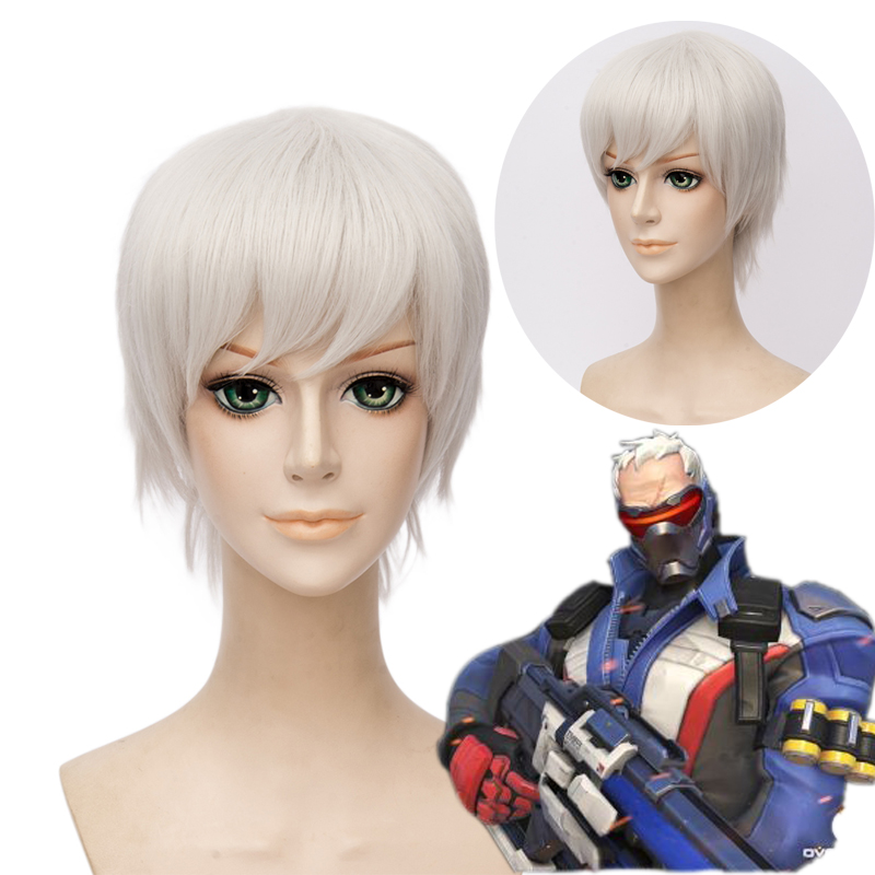 OHCOS Game Overwatch Character Soldier: 76 12inches Short Synthetic Hair Cosplay Wig<br><br>Aliexpress