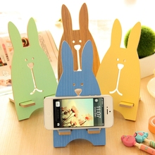 Universal Phone Holder Stand Wooden Rabbit Cute Cartoon Mobile Phone Mount Holder for iPhone 5 6 7 Plus Samsung HTC Redmi 3S Pro