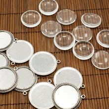 25mm Transparent Clear Domed Magnifying Glass Cabochon Cover for Photo Jewelry Pendant Making Antique Silver Lead Nickel Free