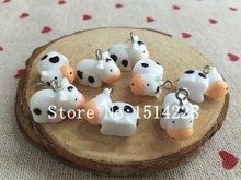 Mina Free shipping!  Cute animal charms.3D resin kawaii cow pendant for key chain/phone decoration,DIY.