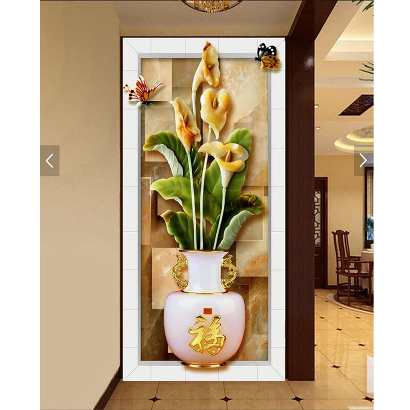 wall paper 3d art mural Chinese lotus relief vase Restaurant Hotel murals Home Decor Modern Art Wall Painting For Living Room<br><br>Aliexpress