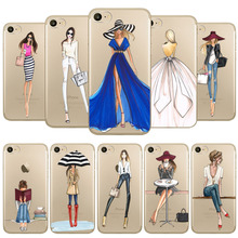 For iPhone 7 6 6s Phone Case Cover Fashion Dress Shopping Girl Transparent Soft Silicon Mobile Phone Bag Fundas Celular Capa