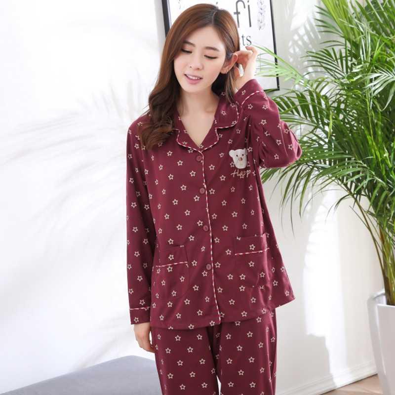 Плюс Размеры 100% Хлопковые пижамы для Для женщин 2018 осень-зима с длинным  рукавом 5621480da325a