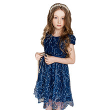 CHNDKNY 2-12 Year Kids Princess Fashion Dress for Baby Girls Girls Lace Summer Dress 2017 Children Brand Party Costumes