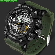 SANDA Brand S Shock Sport Watch For Men Digital Dual Display LED electronic Watches Fashion Waterproof Military Watch Male Clock