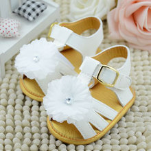 Summer Baby Girl Shoes Cool Infant Skidproof Toddlers Flower Baby Shoes First Walkers White