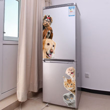 Dogs Cats 3D Wall Sticker Funny Door Window Wardrobe Fridge Decorations for Kids Room Home Decor Cartoon Animal Art Vinyl Decal(China)