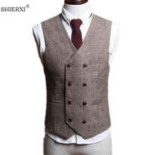 Men Vests British Style Slim Woollen cloth Double Breasted Sleeveless Jacket Waistcoat Men Suit Vest(China)