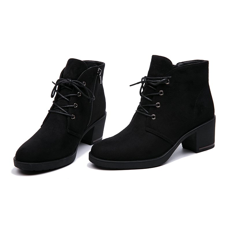 IMG_3117AIMEIGAO New Spring Autumn Women Ankle Boots Suede Leather Short Booties Lace Up Boots Women With Fur Shoes 2018 New Arrivals