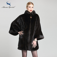 Athena Special 2016 Fashion Batwing Sleeve Type Women Mink Fur Coats Dark Brown Color Genuine Fur Coat From Natural Real Mink