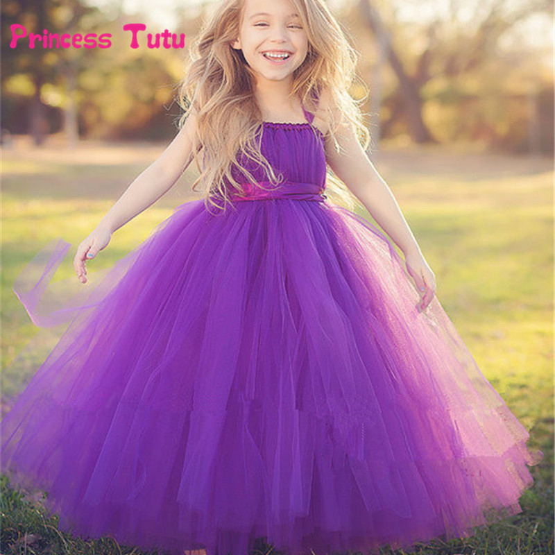 Purple,Gray Flower Girl Dresses Cute Kids Party Pageant Wedding Bridesmaid Bridal Tulle Tutu Dresses Princess Ball Gown 2-14 Y<br>