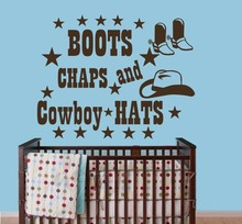 Wall Decals Quotes Boots Chaps And Cowboy Hat Decal Boy Room Sticker Decor(China)