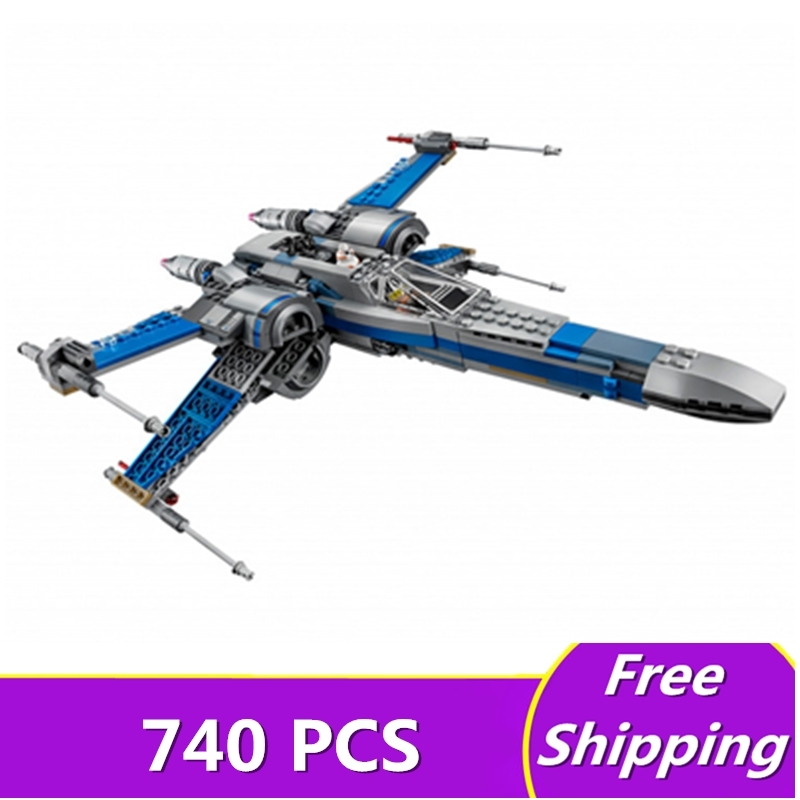 740 Pcs Lepin 05029 Star Series Wars Rebel X-Wing Fighter Building Blocks Bricks Toys for Children Gift Assembled Compatible<br>