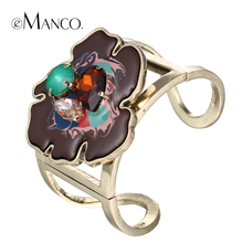 eManco wide opening bangle bracelet enamel flower crystal cuff zinc alloy bangles for women painting resin metal pulseiras(China)