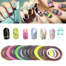 30 Rolls Glitter Nail Art Striping Tape Line Sticker Tips Decorations 1MM DIY Self-Adhesive 3d Decals Manicure Tools(China)