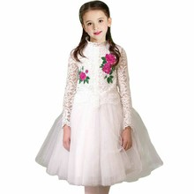 Girls Wedding Dress with Embroidered Flower Brand Christmas Dress Girls Costume White Lace Princess Party Dresses Kids Clothes(China)