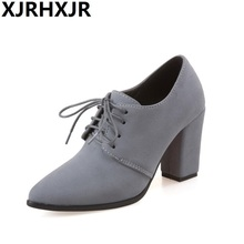 Shoes Woman High Heels Women Pumps Autumn Lace Up Dress Thick Heels Pointed Toe Ladies Shoes Gray Black Big Size 32-44
