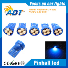 100pcs W5W T10 #555 LED 6.3v Pinball Light 3528LEDs Chip Non ghosting Blue for Williams pinball game mechine