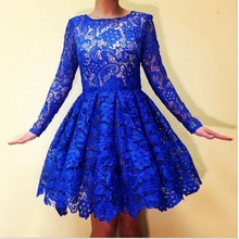 2017 Royal Blue Long Sleeves Lace Short Prom Dresses Knee Length Girl Special Occasion Dress Jewel Neck A Line Party Gowns