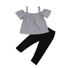 Trendy Kids Baby Girls Clothes Off Shoulder striped pullover short sleeve Tops Long solid Pants 2pc cotton casual summer set