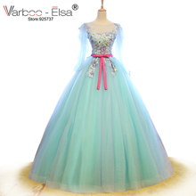 VARBOO_ELSA robe de soiree 2017 Green Tulle Evening Dresses Elegant Appliques Embroidery Prom Dress Scoop Neck Ball Gown Dress(China)