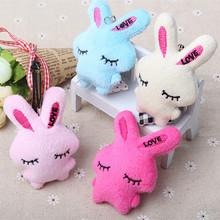 2Pcs/Set Kawaii Rabbit Mini Dolls Kids Stuffed Animal Plush Toys Flower Bouquets Bear For Wedding Christmas Gift Random Color