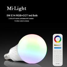 Milight E14 5W RGBC+CCT LED bulb with 2.4G 8-Zone wireless RF remote controller multicolor led lighting mi light FUT013(China)