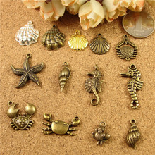 Gold silver alloy plating nautical charms jewelry material bag accessories marine crab shells conch starfish sea horse pendants