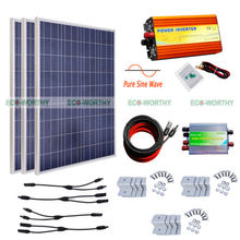 300W 3pcs 100W Solar Panel Kit 1KW 12V Pure Sine Wave Inverter Off Grid System Solar Generators