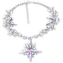 Luxury Color Rhinestone Choker Necklaces Black Link Chain Crystal Maxi Necklace Starburst Chocker For Women Statement Jewelry