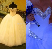 Big Ball Gown Shiny Crystals Ivory Wedding Dresses Tiered Tulle Floor Length Long vestido de noiva Spring Dream Bridal Dress